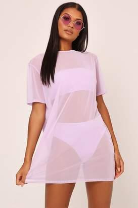 I SAW IT FIRST Lilac Mesh Oversized Tshirt Dress