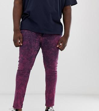Asos Design DESIGN Plus super skinny jeans in acid wash pink