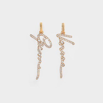 Versace Earrings In Golden Brass And Crystals