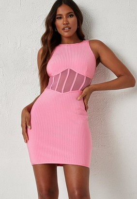 Missguided Dani Michelle X Pink Bandage Mesh Corset Racer Mini Dress