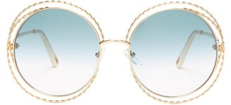 Chloé Carlina Round Metal Sunglasses - Womens - Gold Blue