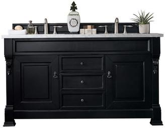 "James Martin Vanities Brookfield 60"" Double Vanity, Antique Black, 3cm Classic White Quartz"