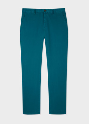 Men's Mid-Fit Teal Stretch-Cotton Chinos