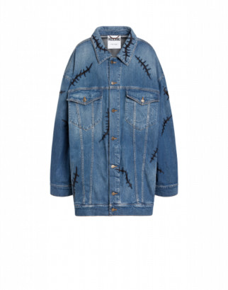 Moschino Scars Denim Jacket Woman Blue Size 36 It - (2 Us)