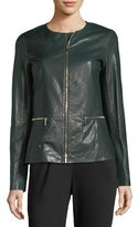 Lafayette 148 New York Kerrington Zip-Front Leather Jacket