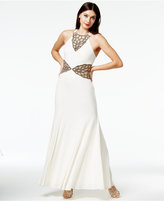 As U Wish Juniors' Cutout Beaded Halter Gown