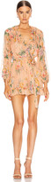 Zimmermann Zinnia Plunge Ruffle Playsuit in Coral Floral | FWRD