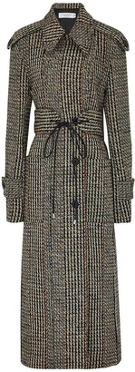 Victoria Beckham Wool Tweed Belted Trench Coat
