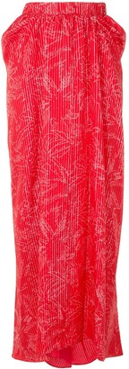 Giorgio Armani Mulberry Silk Palm Tree Pattern Skirt