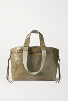 Isabel Marant Wardy Canvas-trimmed Crinkled-leather Tote - Green