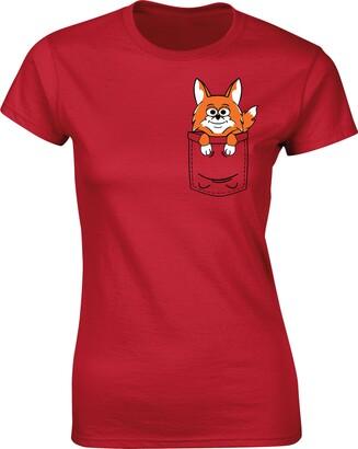 Flip Womens Fox Cute Animal Pocket Print T-Shirt Red UK 12-14 (XL)