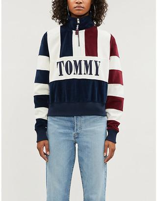 Tommy Jeans Branded striped fleece sweatshirt
