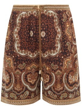 Nanushka Doxxi Paisley-print Twill Shorts - Brown Multi