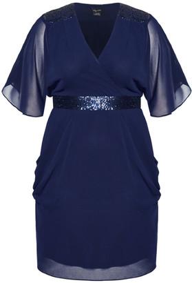 City Chic Sequin Wrap Dress - navy
