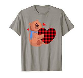 Buffalo David Bitton Funny Bear With Plaid Heart Valentines Day Gifts T-Shirt