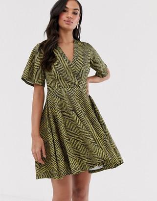 Closet London Closet wrap over skirt dress-Yellow