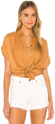 Indah Eliza Solid Button Up Short Sleeve Shirt
