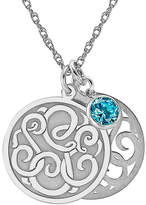JCPenney FINE JEWELRY Personalized Cubic Zirconia Birthstone Sterling Silver 20mm Monogram Pendant Necklace