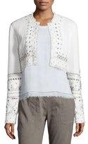 Elie Tahari Doris Embellished Cropped Jacket, White