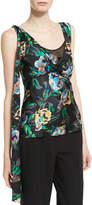 Diane von Furstenberg Sleeveless Shoulder-Knot Floral-Print Silk Top