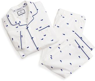 Petite Plume Kid's Whales Printed Two-Piece Pajama Set, Size 6M-14