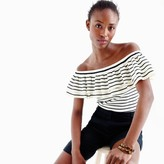 J.Crew Lightweight striped off-the-shoulder ruffle sweater