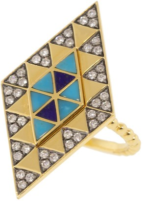 Harwell Godfrey Lapis, Turquoise, and Diamond Inlay Shield Ring