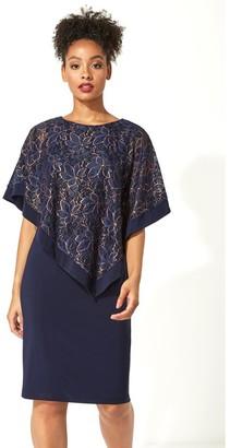 M&Co Roman Originals floral metallic overlay dress