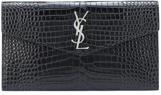 Saint Laurent Uptown embossed leather clutch