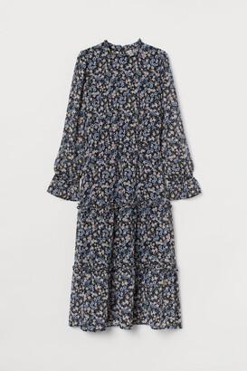 H&M Calf-length Chiffon Dress - Black