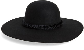 Rachel Parcell Floppy Brim Wool Hat with Velvet Trim