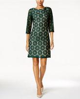 Jessica Howard Illusion-Sleeve Lace Sheath Dress