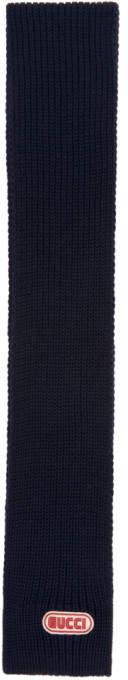 Gucci Navy Ribbed Logo Scarf