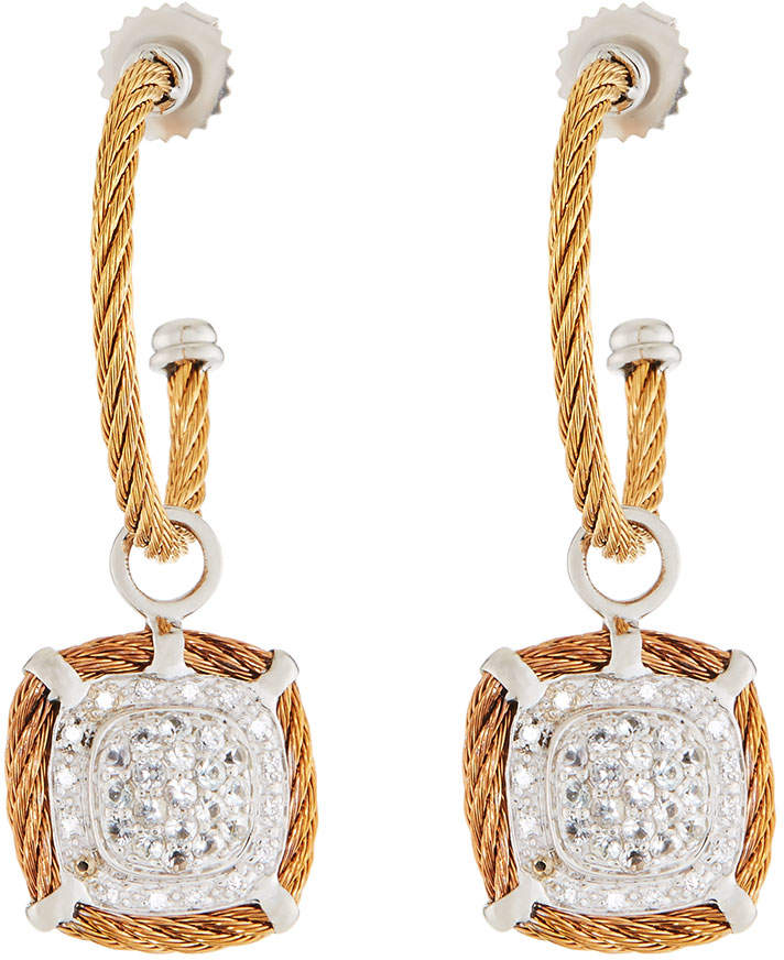Alor Classique Diamond Hoop Drop Earrings