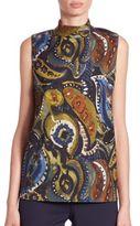 Lafayette 148 New York Fernanda Painterly Paisley-Print Blouse