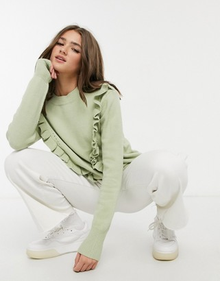Qed London frill front detail sweater in sage