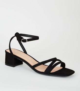 New Look Suedette Strappy Low Block Heels