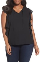 Sejour Plus Size Women's Flutter Sleeve Tie Neck Top