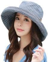 Siggi Ladies UPF50+ Summer Sunhat Cotton Bucket Packable Crushable Foldable Wide Brim Hats w/ Chin Cord NavyBlue