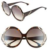 Alice + Olivia Women's Stacey Crystal 59Mm Gradient Lens Round Sunglasses - Dark Tortoise