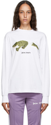 Palm Angels White Croco Long Sleeve T-Shirt