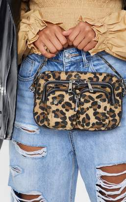 PrettyLittleThing Leopard Faux Pony Hair Multi Pocket Cross Body Bag