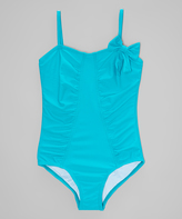 Beach Rays Aqua Ruched Bow-Accent One-Piece - Girls