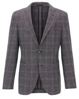 HUGO BOSS - Slim Fit Checked Jacket In A Wool Linen Blend - Black