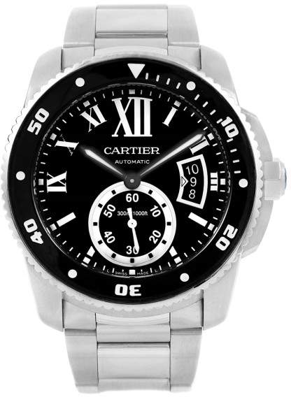 Cartier Calibre Divers W7100057 Stainless Steel Black Dial Automatic 42mm Mens Watch