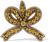 Gucci Gold-tone Crystal Brooch - one size