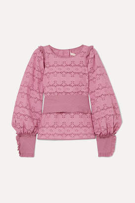 Anna Mason - Harper Ruffled Broderie Anglaise Cotton Blouse - Pink