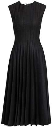 Oscar de la Renta Pleated Stretch Wool Midi Dress