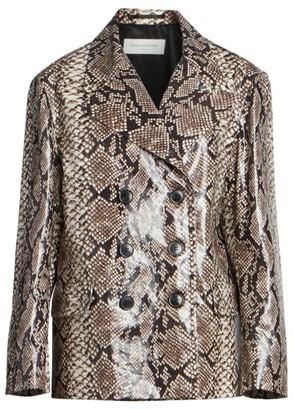 Dries Van Noten Snakeskin-Print Double-Breasted Jacket