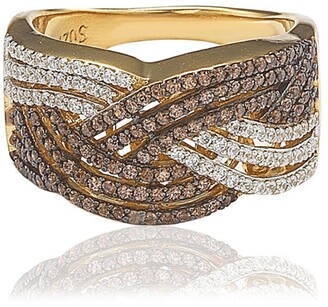 Suzy Levian Gold-Tone Tricolor Chocolate & White CZ Ring
